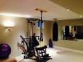 Home Gym with two Silencers. One for heavy bag and one for suspension trainer